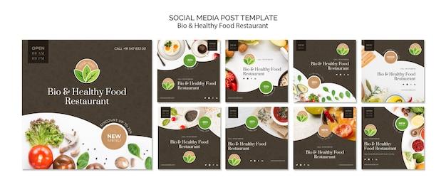 Post de mídia social de restaurante de comida saudável