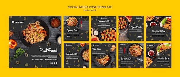 Post de mídia social de restaurante