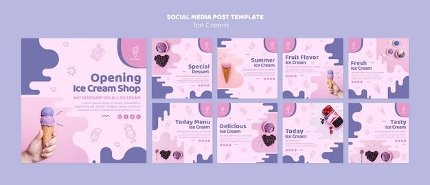 Post de mídia social de sorveteria