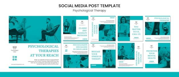 Post de mídia social de terapia psicológica