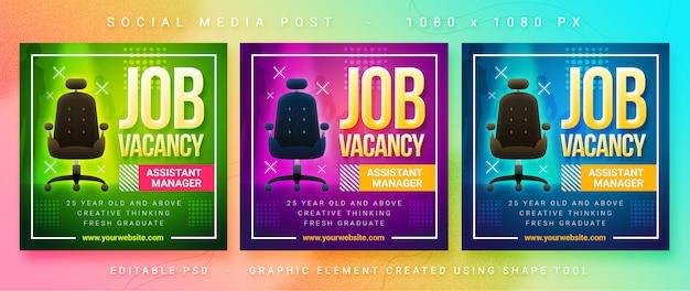 Post de mídia social de vaga de emprego