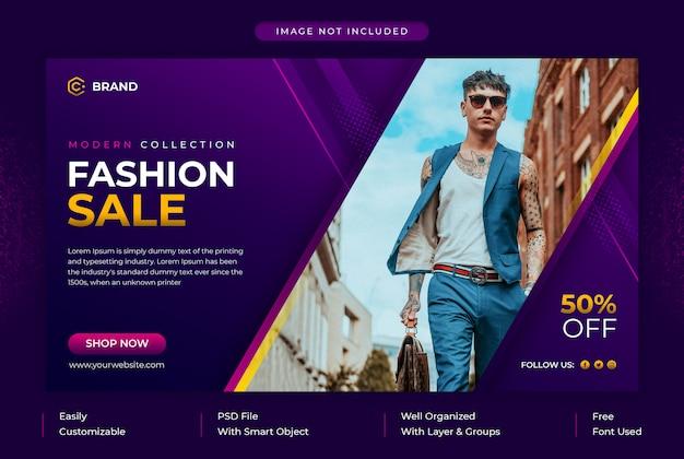 Post de mídia social de venda de moda coleção moderna e banner de mídia social ou modelo de banner da web