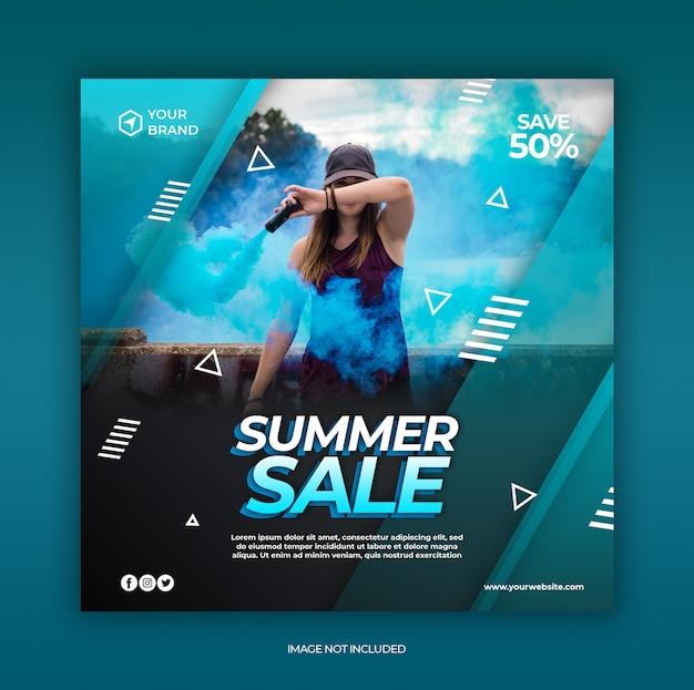 Post de mídia social de venda de moda e modelo de banner da web com o conceito de verão