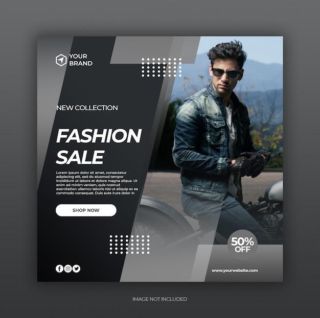 Post de mídia social de venda de moda e modelo de banner da web