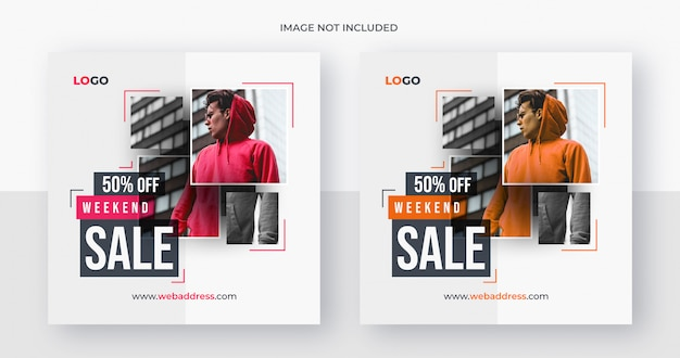 Post de mídia social de venda de moda ou modelo de banner