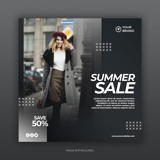 Post de mídia social de venda de moda verão e modelo de banner quadrado web