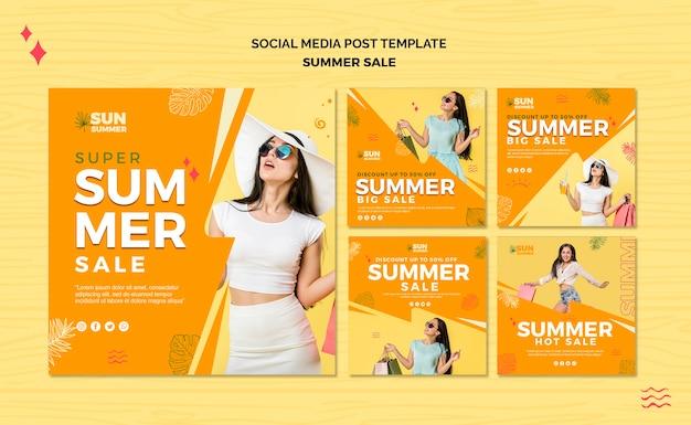 Post de mídia social de venda de verão menina modelo