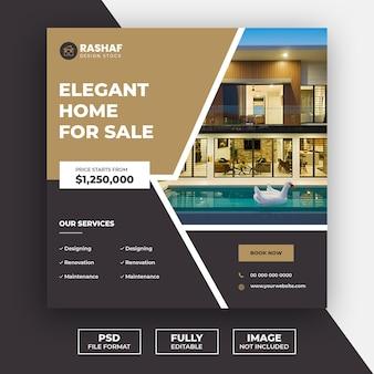 Post de mídia social de venda em casa imobiliária e modelo de banner da web