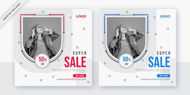 Post de mídia social de venda ou design de banner