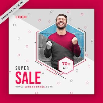 Post de mídia social de venda ou modelo de banner da web