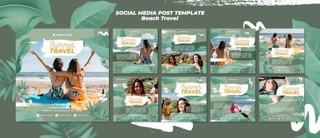 Post de mídia social de viagens de praia verão