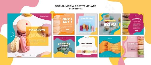 Post de mídia social delicioso macarons doces