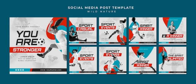 Post de mídia social do conceito de esporte