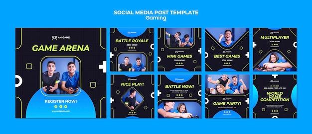 Post de mídia social do conceito de jogo