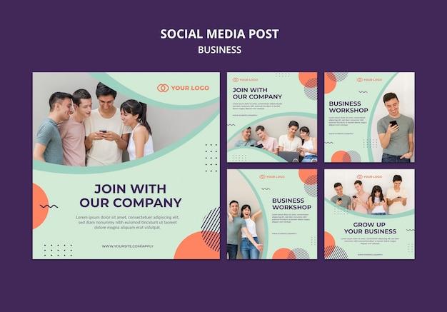 Post de mídia social do conceito de oficina de negócios