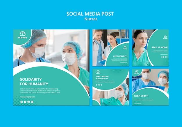 Post de mídia social do conceito de saúde