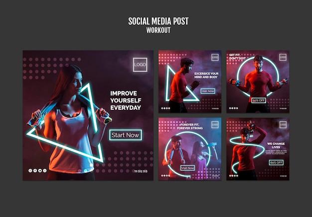Post de mídia social do conceito de treino