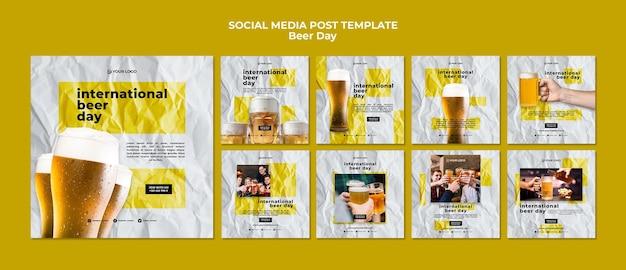 Post de mídia social do dia da cerveja