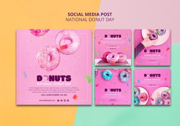 Post de mídia social do dia nacional da rosquinha