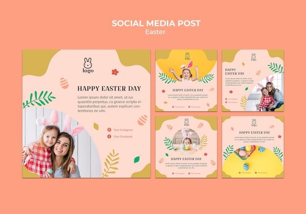 Post de mídia social do festival do dia da páscoa