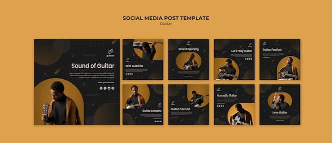Post de mídia social do guitarrista