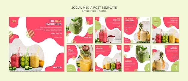 Post de mídia social do tema smoothies