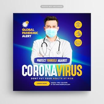 Post de mídia social e web banner de prevenção de vírus corona