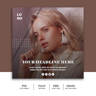 Post de mídia social instagram banner template fashion beautiful girl