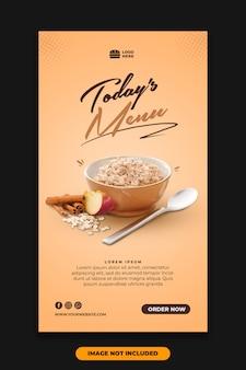 Post de mídia social instagram story template restaurant food