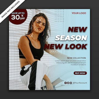 Post de mídia social modelo de instagram banner de venda de moda