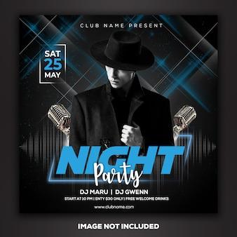 Post de mídia social modelo instagram dj club party music