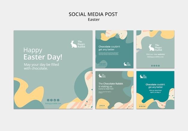 Post de mídia social para a celebração do dia de páscoa