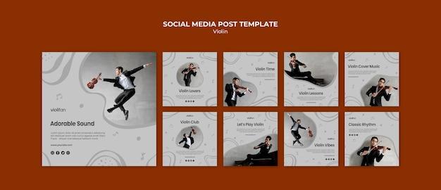 Post de mídia social para amantes de música violino