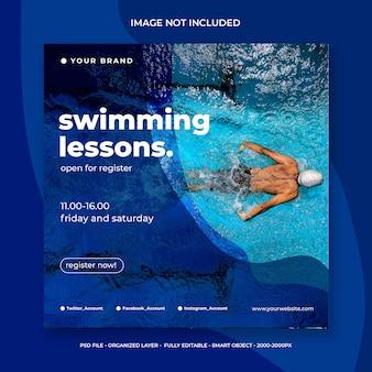 Post de mídia social para aulas de natação