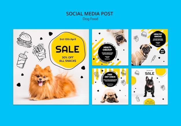 Post de mídia social para comida de cachorro