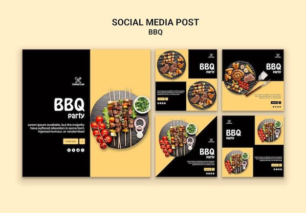 Post de mídia social para festa de churrasco