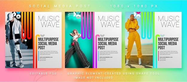 Post de mídia social para música multiuso