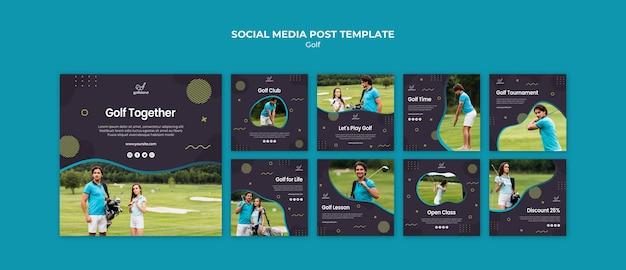Post de mídia social praticando golfe