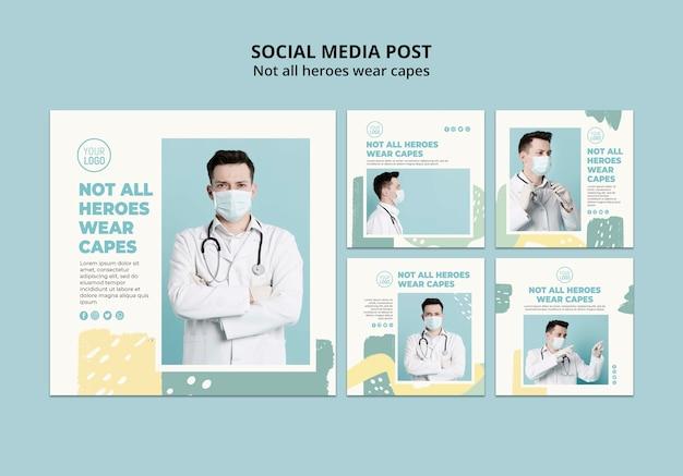 Post de mídia social profissional médico