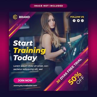 Post de mídia social promocional de ginásio e fitness e modelo de banner da web