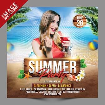 Post de mídia social psd de festa de verão