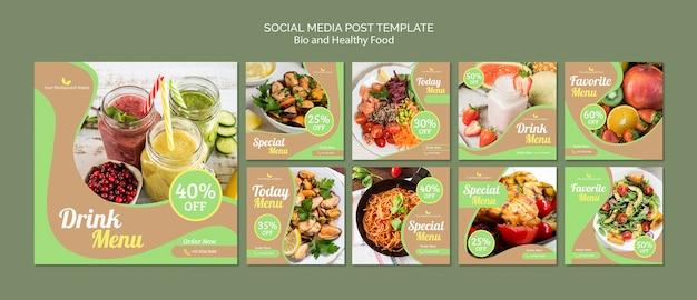 Post de mídia social saudável e com alimentos biológicos