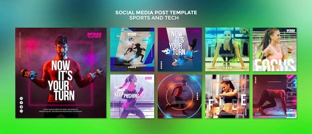Post de mídia social sobre esportes e tecnologia