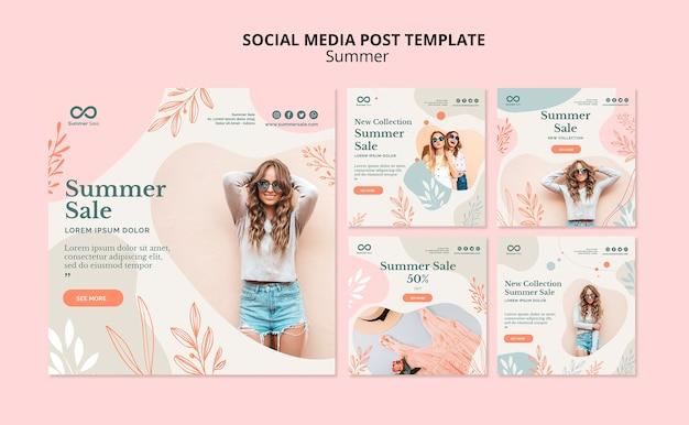 Post de venda de verão de mídia social