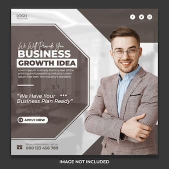 Post desig de ideias de crescimento de negócios nas redes sociais