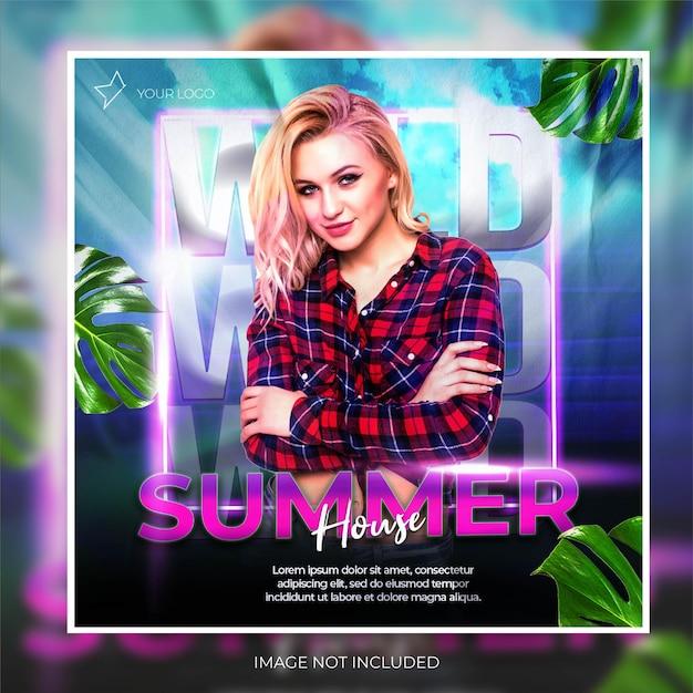 Post feed de banner de mídia social de festa de clube de verão moderno