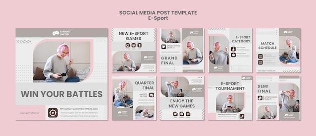 Post pack de mídia social de e-sports