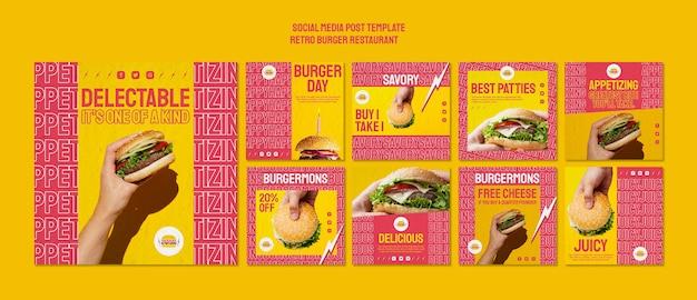 Post retro de mídia social de restaurante de hambúrguer