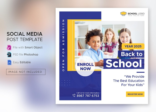 Postagem de admissão na mídia social de volta às aulas ou modelo de flyer quadrado premium psd