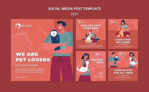 Postagem de adote animais de estimação na mídia social